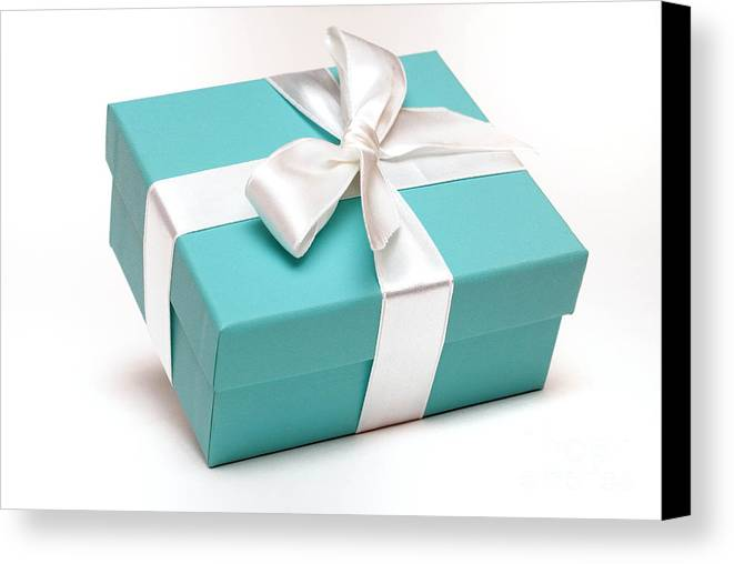 Anniversary Canvas Print featuring the photograph Little Blue Gift Box by Amy Cicconi
