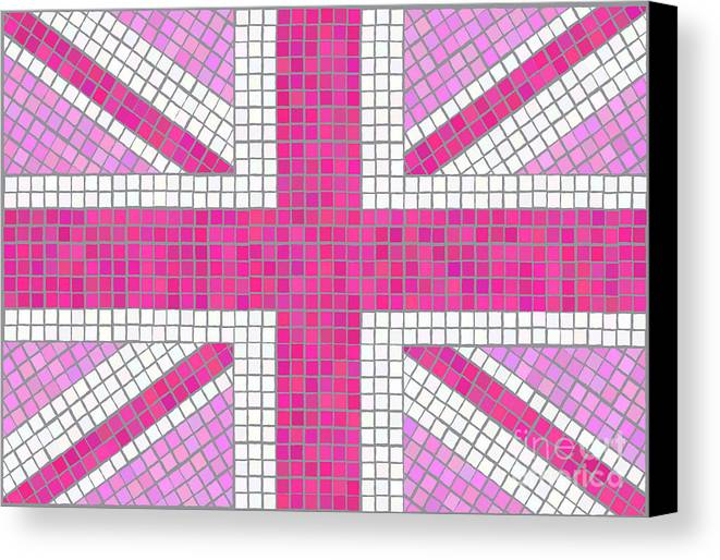 Background Canvas Print featuring the digital art Union Jack Pink by Jane Rix