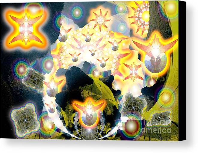 Ophanim Canvas Print featuring the digital art Forces Unite Ophanim Assemble by Aeres Vistaas