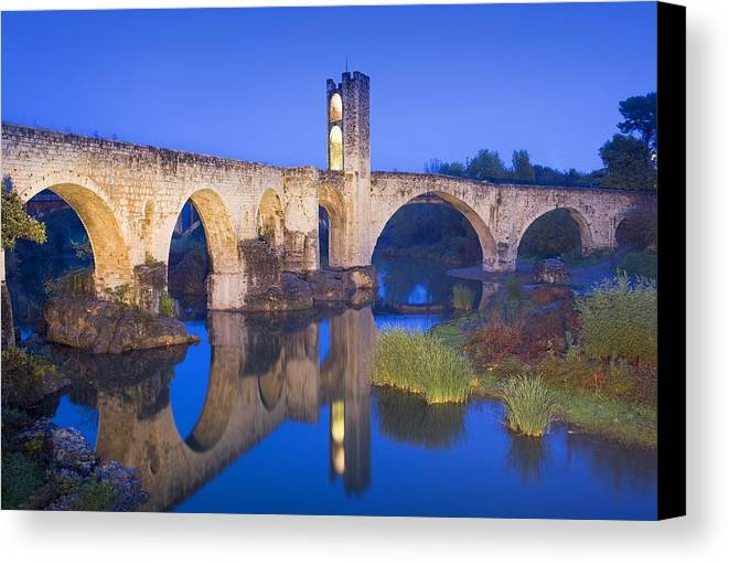 Europe Canvas Print featuring the photograph Spain. Besal�. Romanesque Bridge by Everett
