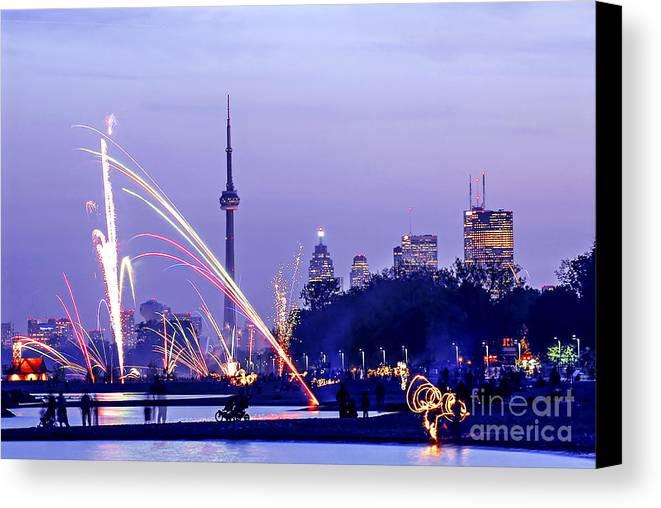 Toronto Canvas Print featuring the photograph Toronto Fireworks by Elena Elisseeva