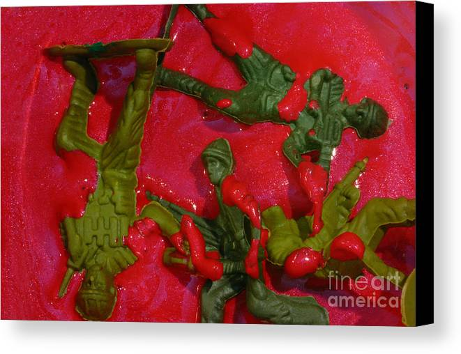 Aggression Canvas Print featuring the photograph Toy Soldiers In A Pool Of Blood by Amy Cicconi