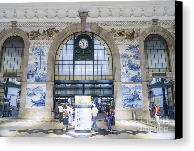 Architecture Canvas Print featuring the photograph Dom Luis Bridge Porto Portugal by Jacek Malipan