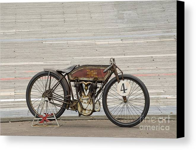 Motorcycle Canvas Print Featuring The Photograph Excelsior Board Track Racer II By Frank Kletschkus
