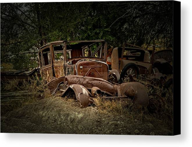 Abandoned Canvas Print featuring the photograph Abandoned Model A Shell by Stan Manning