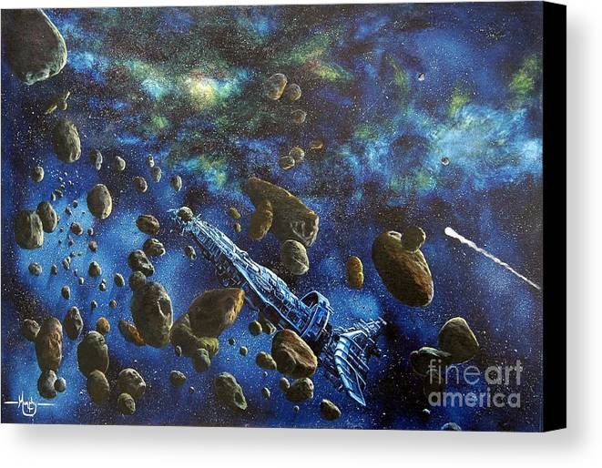 Canvas Canvas Print featuring the painting Accidental Asteroid by Murphy Elliott