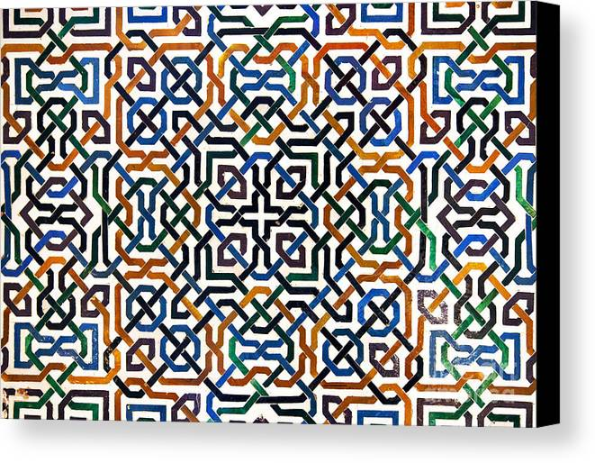 Alhambra Canvas Print featuring the photograph Alhambra Tile Detail by Jane Rix