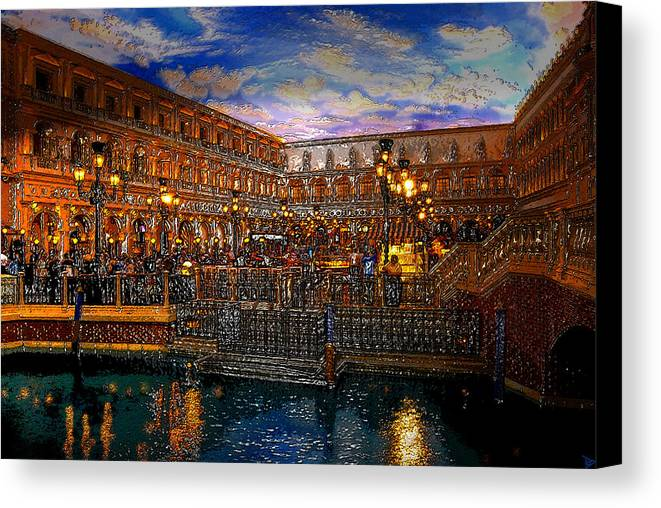 Venice Italy Canvas Print featuring the painting An Evening In Venice by David Lee Thompson