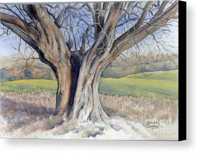 Tree Canvas Print featuring the painting Ancient English Tree by Maddy Swan