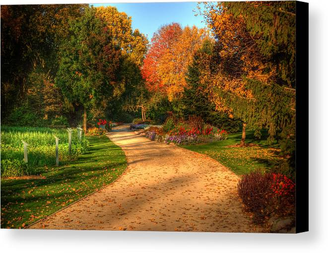 Autumn Canvas Print featuring the photograph Autumn Road by Brett Perucco