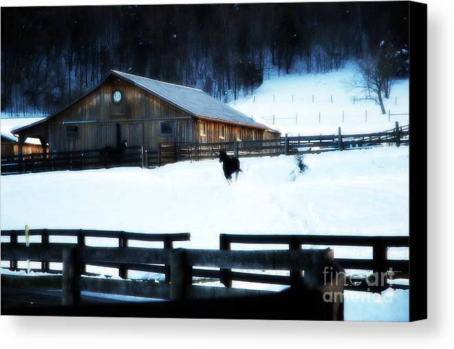 Barn Canvas Print featuring the photograph Barn In Snow by Rosallyne Loreti
