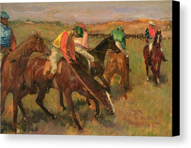 Before The Races Canvas Print featuring the painting Before The Races by Edgar Degas