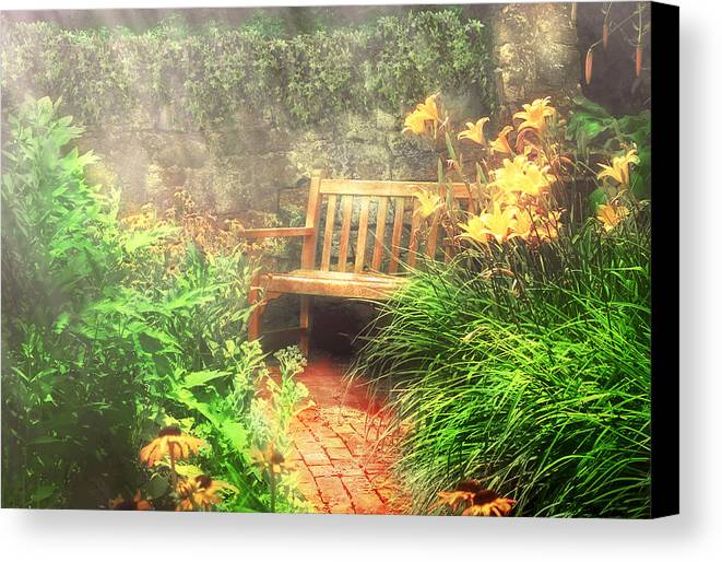Savad Canvas Print featuring the photograph Bench - Privacy by Mike Savad
