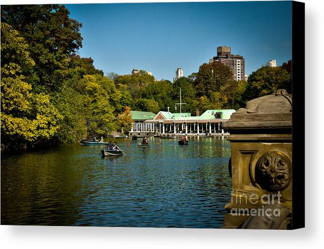 Boat House Canvas Print featuring the photograph Boat House Central Park New York by Amy Cicconi