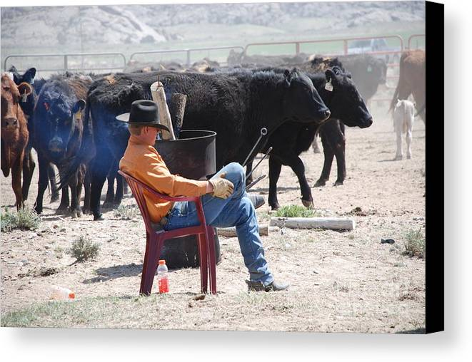 Cowboy Canvas Print featuring the photograph Branding Time by Jim Goodman
