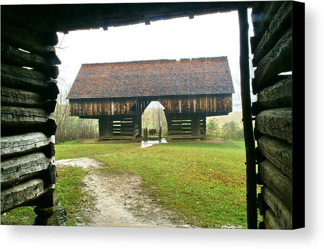 Barn Canvas Print featuring the photograph Cantilever Barn In Smokey Mtn Natl Pk by Bj Hodges