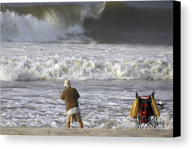 Fishing Canvas Print featuring the photograph Catchin' A Wave by Scott Evers