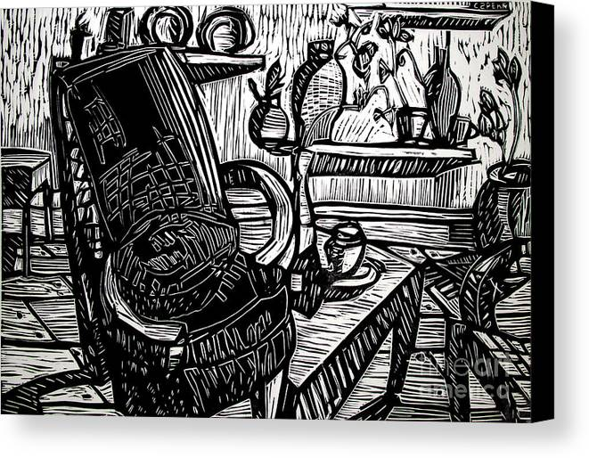 Chair Canvas Print featuring the relief Chair Of My Dream Final Stage by Charlie Spear