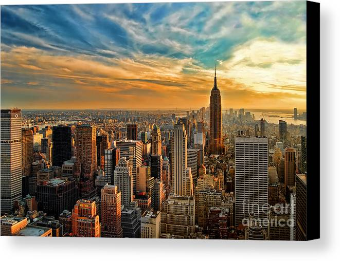 New York City Canvas Print featuring the photograph City Sunset New York City Usa by Sabine Jacobs