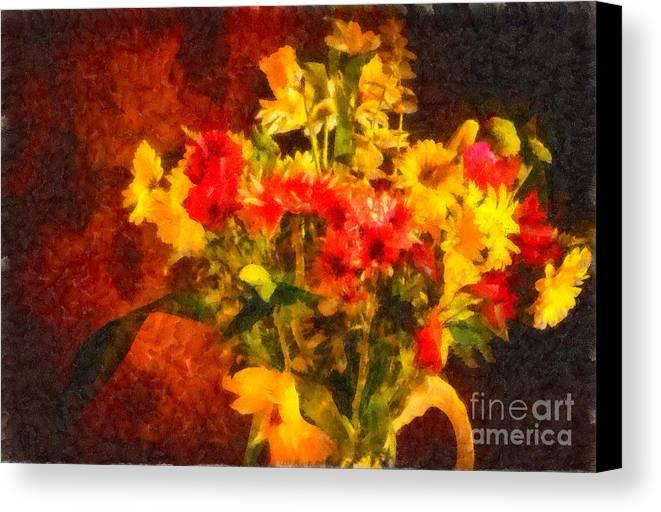 Flowers Canvas Print featuring the photograph Colorful Cut Flowers - V2 by Les Palenik