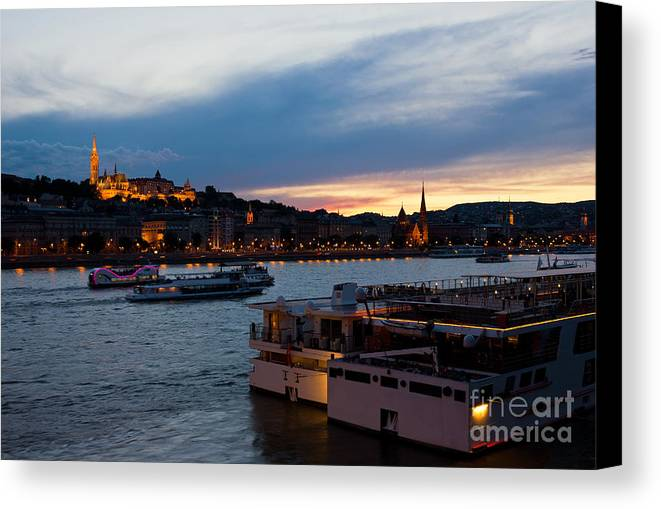 Hill Canvas Print featuring the photograph Colorful Sunset In Budapest With A Panoramic View Of The River D by Kiril Stanchev