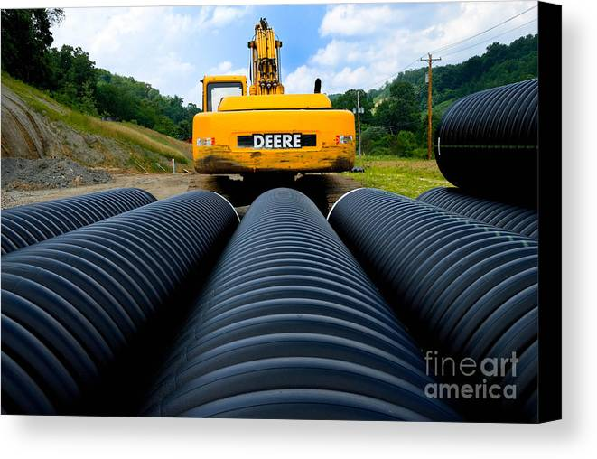 Backhoe Canvas Print featuring the photograph Construction Excavator by Amy Cicconi