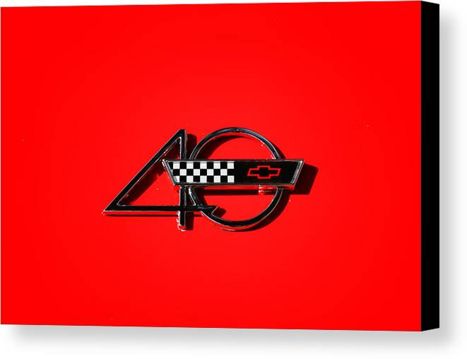 40th Anniversary Emblem Canvas Print featuring the photograph Corvette 40 by Phil 'motography' Clark