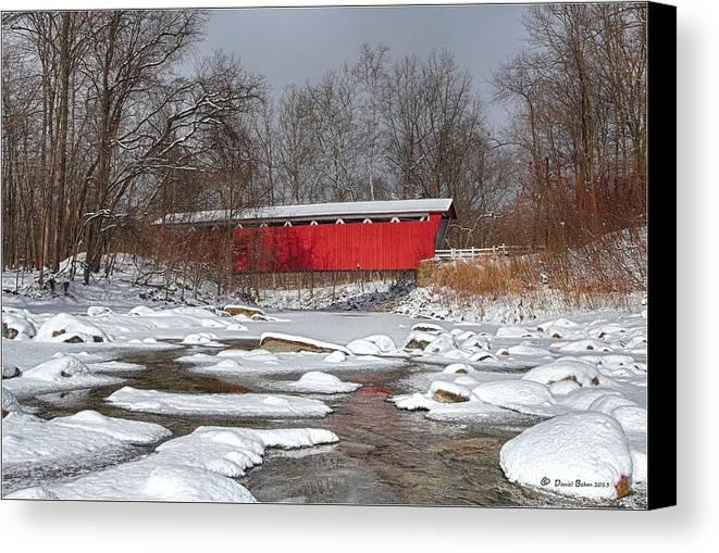Everett Rd. Covered Bridge Canvas Print featuring the photograph covered bridge Everett rd. by Daniel Behm