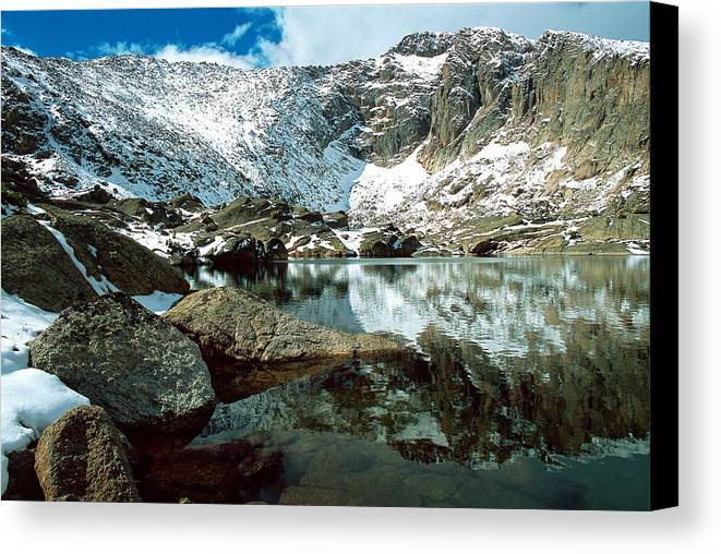 Landscape Canvas Print featuring the photograph Crystal Lake by Eric Glaser