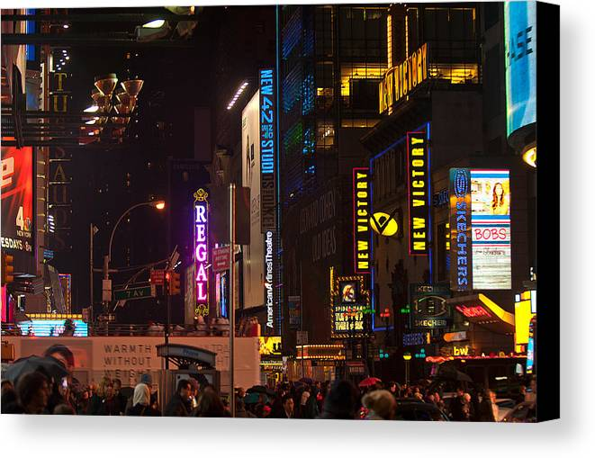 """new York City"" Canvas Print featuring the photograph Doing The Hustle by Paul Mangold"