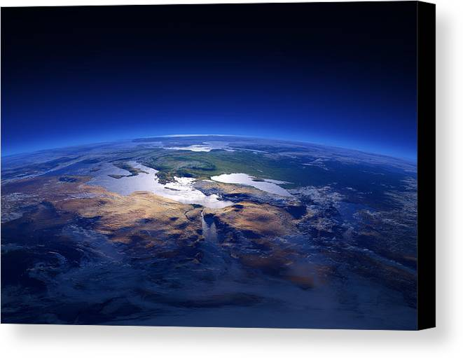 Earth Canvas Print featuring the photograph Earth - Mediterranean Countries by Johan Swanepoel