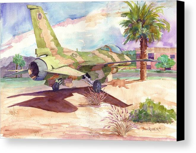 Aircraft Canvas Print featuring the painting F 16 And Desert Sun. by John Ressler