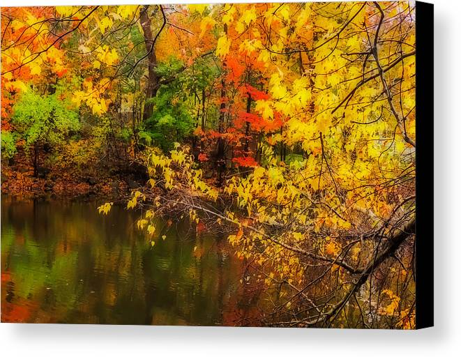 Nature Canvas Print featuring the photograph Fall Reflection by Robert Mitchell