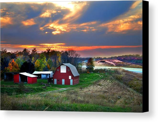 Farms Canvas Print featuring the photograph Farmstead At Sunset by Julie Dant