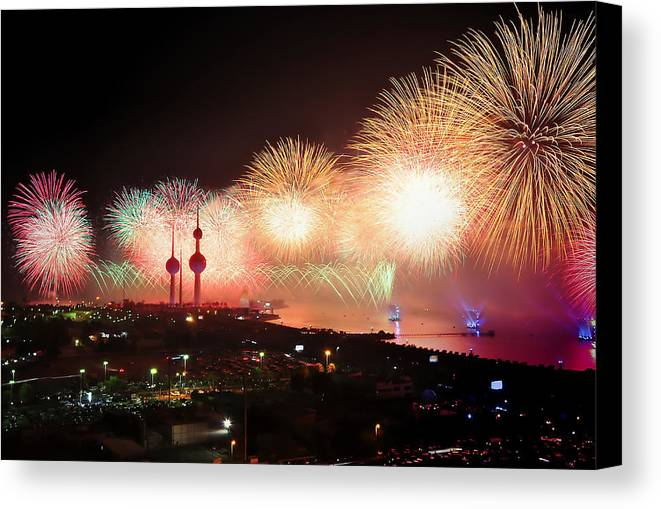 Kuwait City Canvas Print featuring the photograph Fireworks Over Kuwait City by Pixabay