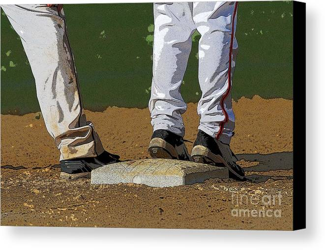 Baseball Canvas Print featuring the photograph First Base by Cindy Manero
