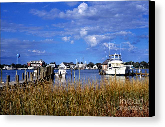 Dock Canvas Print featuring the photograph Fishing Boats At Dock Ocracoke Island by Thomas R Fletcher