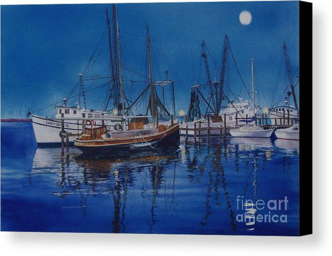 Night Canvas Print featuring the painting Fishmoon by Karol Wyckoff
