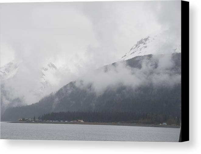 Alaska Canvas Print featuring the photograph Foggy Mountains by Michael Gooch