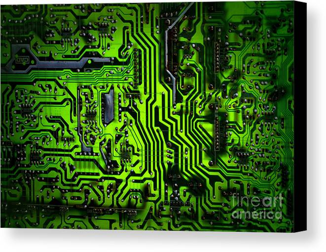 Chip Canvas Print featuring the photograph Glowing Green Circuit Board by Amy Cicconi