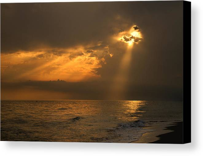 Seacape Canvas Print featuring the photograph Gold Through The Clouds by Guido Montanes Castillo