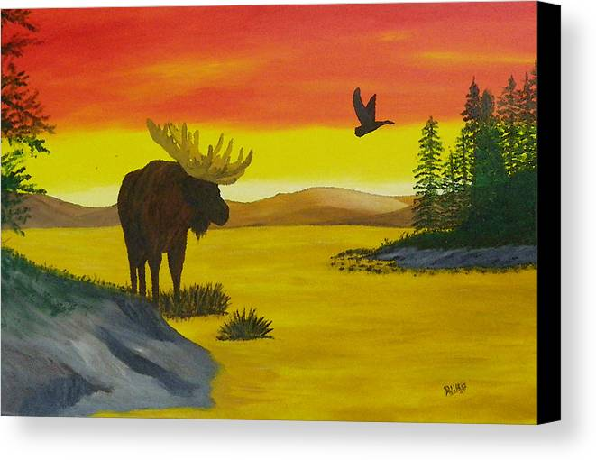 Moose Canvas Print featuring the painting Golden Pond by Doug Wilkie