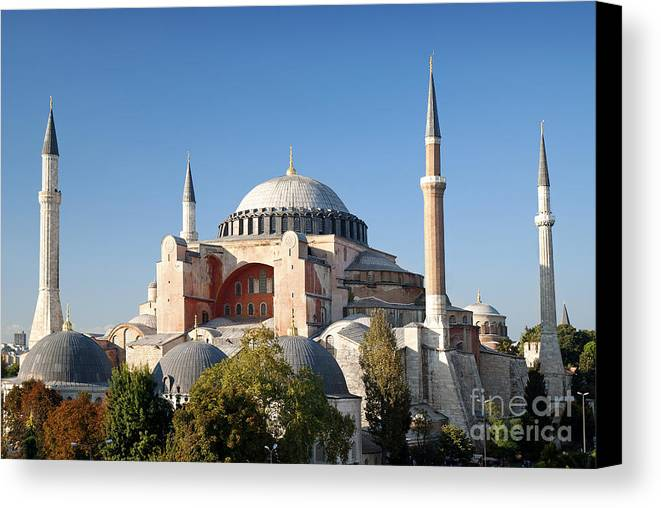 Architecture Canvas Print featuring the photograph Hagia Sophia Mosque Landmark In Instanbul Turkey by Jacek Malipan