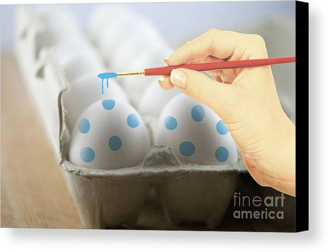 Blue Canvas Print featuring the photograph Hand Painted Easter Eggs by Juli Scalzi