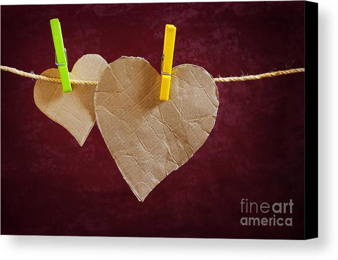 Aged Canvas Print featuring the photograph Hanged Heart by Carlos Caetano