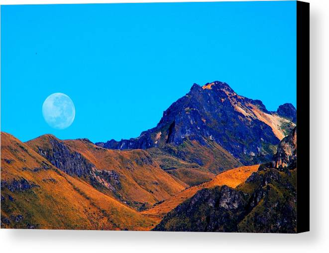 Blue Canvas Print featuring the photograph Harvest Moon 3 by Susana Struve