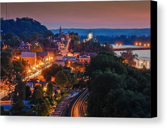 Night Canvas Print featuring the photograph Hermann Missouri - A Most Beautiful Town by Tony Carosella