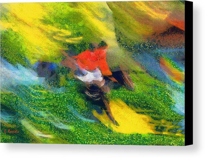 Rossidis Canvas Print featuring the painting Horse Hurdles by George Rossidis