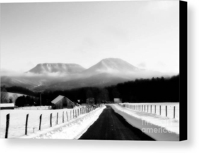 Landscape Canvas Print featuring the photograph House Mountains Winter by Rosallyne Loreti