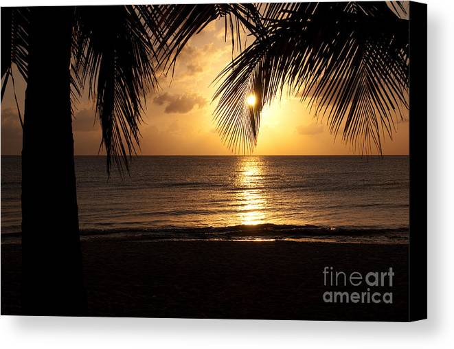 Island Canvas Print featuring the photograph Island Sunset by Charles Dobbs